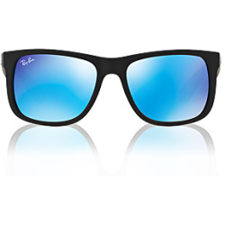 Ray Ban Justin RB4165 622 55 54 black rubber green mirror blue