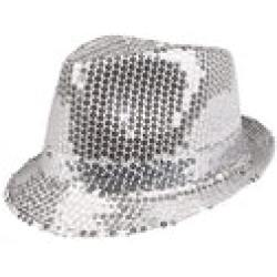 Sequin Hat Adults One Size (Silver)