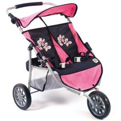 CHIC2000 Puppen Zwillingsbuggy »Jogger pink checker«