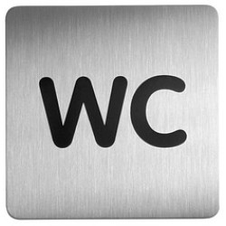 Durable Piktogramm WC eckig metallic silber 150x150mm